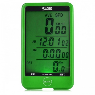 SUNDING SD-576C Wireless Electronic Bicycle Computer - Green