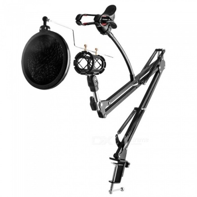 Adjustable Desk Recording Microphone Stand with Phone Holder