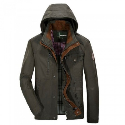 jeep Rich Men's Loose Casual Collar Coat Jacket - Army Green (L)