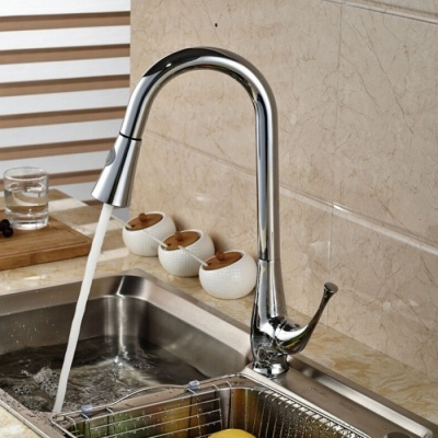 F-0328 Fashion Brass Spring Pull-out / Pull-down Kitchen Faucet