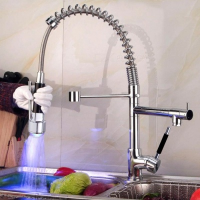 High Quality Brass RGB LED Spring Pull-out/Pull-down Kitchen Faucet
