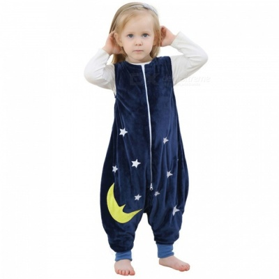 Cartoon Flannel Sleeping Bag for 5~7 Years Old Kids - Deep Blue +White