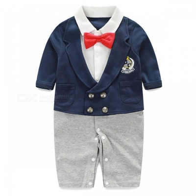 IDGIRL Boy Rompers Suit for 12~24 Months Old Baby - Grey + White