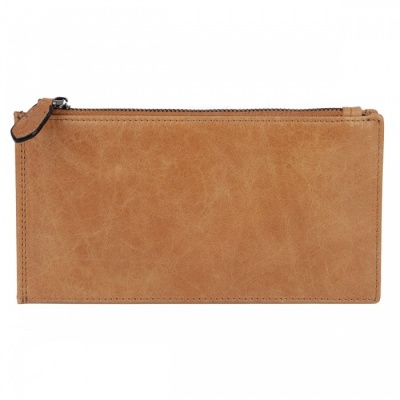 BLCR Leather Zipper Wallet Bag for 5.5 Inches Smartphone - Khaki