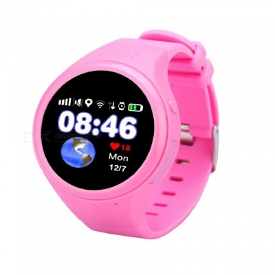 "1.22"" Touch Screen GPS Tracking Watch Phone, SOS Watch - Black + Pink"