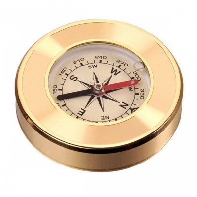 Naturehike Outdoor Portable Analog Copper Shell Compass - Golden