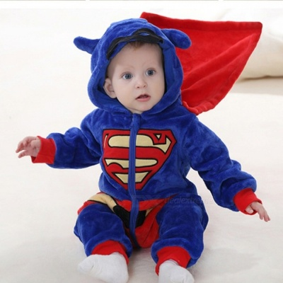 IDGIRL Cartoon Flannel Baby Superman Jump Suit for 13-18 Months Kids