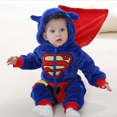 IDGIRL Cartoon Flannel Baby Superman Jump Suit for 19-24 Months Kids