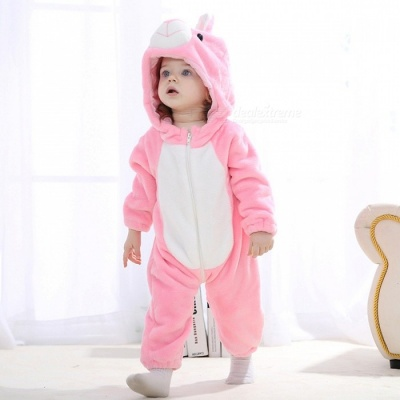 IDGIRL Cartoon Flannel Baby Animal Jumpsuit for 4-12 Months Kids