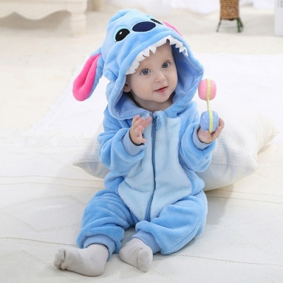 IDGIRL Flannel Cartoon Animal Jumpsuit Baby Boy Girl Romper - Sky Blue