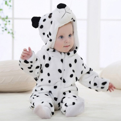 IDGIRL Cartoon Flannel Baby Animal Jumpsuit for 0-3 Months Kids