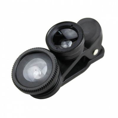 3-in-1 Fisheye Wide Angle Lens Set for Mobile Phone - Black