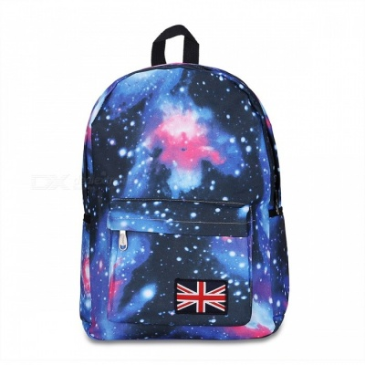 T006-1 Fashion Starry Sky Pattern Backpack - Blue + Black + Multicolor