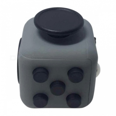 6-Sided Cube Dice Finger Toy - Grey + Black