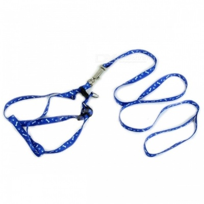 Adjustable Nylon Embroidery Printed Harness Lead Leash for Pets - Blue