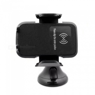 360° Rotation Wireless Car Charger + Charging Mount Holder - Black