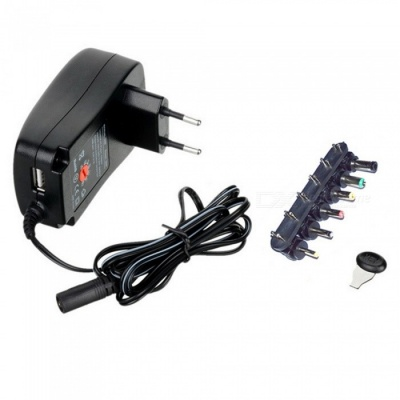 30W Universal Wall Plug-in Adapter w/ 5V 2.1A USB Port, EU Plug- Black