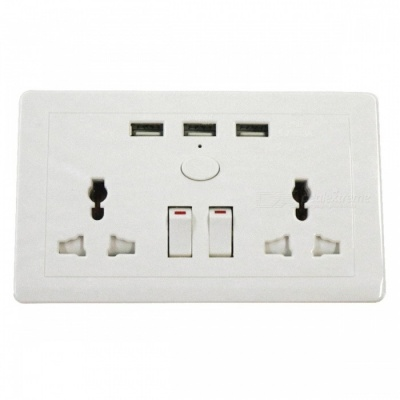 AC 110~250V / 13A Three USB AC Power Socket Panel with Switches -White