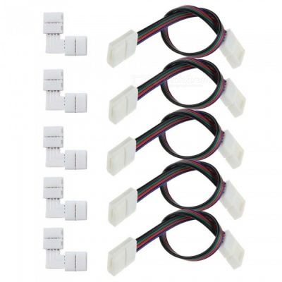 KWB 5Pcs 5050 RGB LED Strip Light Cables + L-shaped Connectors - White