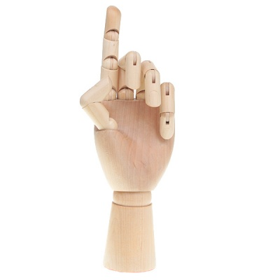 """Wooden 15-Joint Moveable Manikin Woman Hand Model (10"""")"""