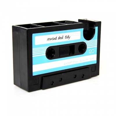 Retro Cassette Tape Dispenser Stainless Steel Pen Holder -Blue + Black