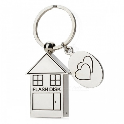 House Style Stainless Steel USB Flash Drive Pendrive - Silver (4GB)