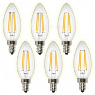 KWB C35 E12 4W LED Filament Candelabra Warm White Light Dimmable Lamps