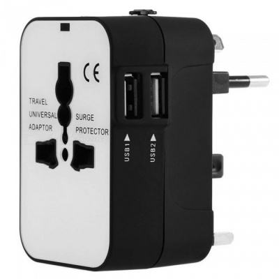 Universal International Travel Adapter Power Plug Converter - Black