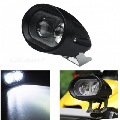 Jiawen 30W Motorcycle / Car 2-LED Cold White Light Headlamp - Black