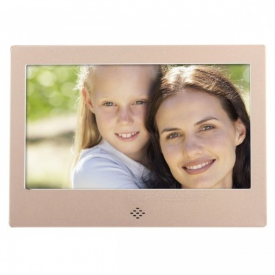 "7"" Digital Photo Frame 8GB Memory & IR Remoter Power Adapter - Golden"