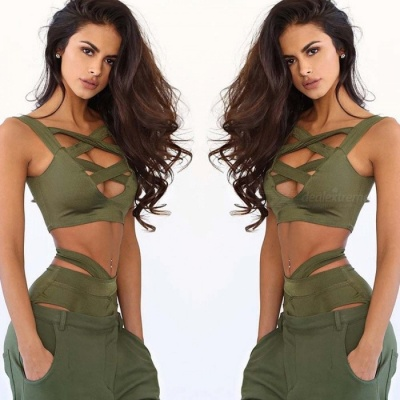 Cross Belt Sexy Bikini Split Swimsuit - Army Green (L)