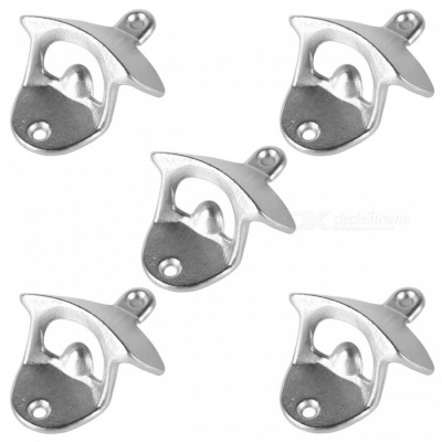 Wall Mounted Unique-design Metal Beer Bottle Openers - Silver (5PCS)