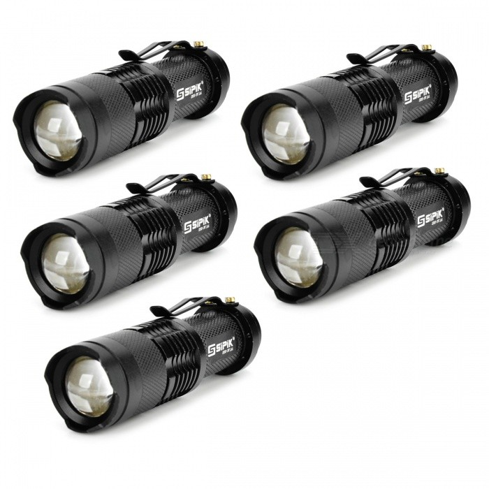 SIPIK SK68 120lm Convex Lens LED Zooming Flashlights w/ Q3-WC - Black