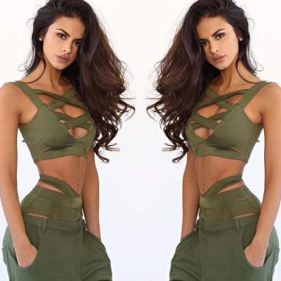 Cross Belt Sexy Bikini Split Swimsuit - Army Green (M)