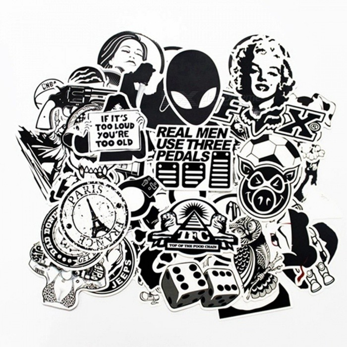 ZIQIAO Car Styling Funny Car Stickers - Black+ White (100 PCS / Pack)