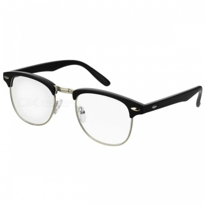 Silver Plated Metal Frame Optical Glass Plain Mirror Eyeglasses -Black