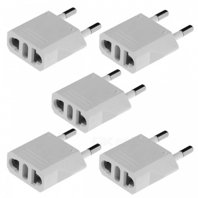 US / AU / Italy Plug Socket to 2-Round-Pin Plug AC Power Adapter(5PCS)