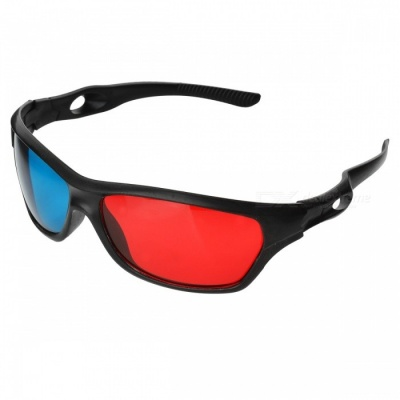 JEDX Universal 3D Plastic Frame Glasses - Black + Red + Blue (2 Pairs)
