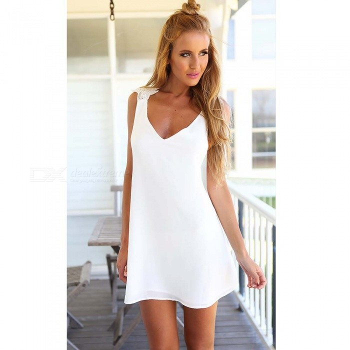 Lady Halter Strap Elegant White Women's Dress - White (M)