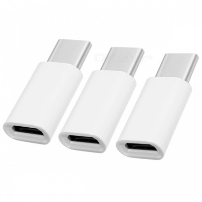 USB 3.1 Type-C Male to Micro USB Female Adapters (3PCS) - White