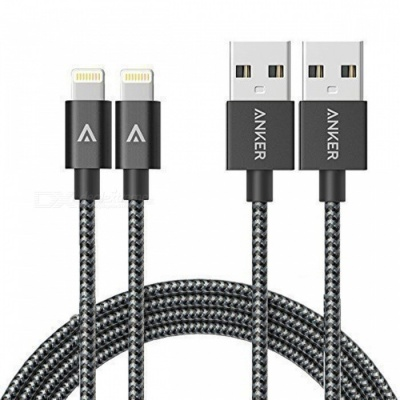 Anker 6ft Nylon Braided USB Cable with Lightning Connector -Space Gray