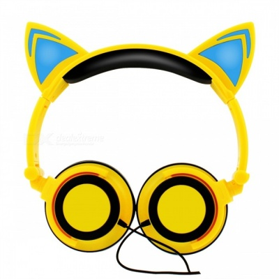 Fashion Glowing Cosplay Blinking Kids Cat Ear Wired Headphone - Yellow