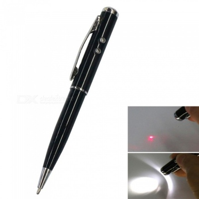 AT-15 4-in-1 Multifunction Stylus Pen w/ Laser / LED Light - Black