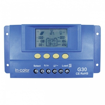 IN-COlOR 12V/24V 30A LCD Display PWM Solar Charge Controller - Blue