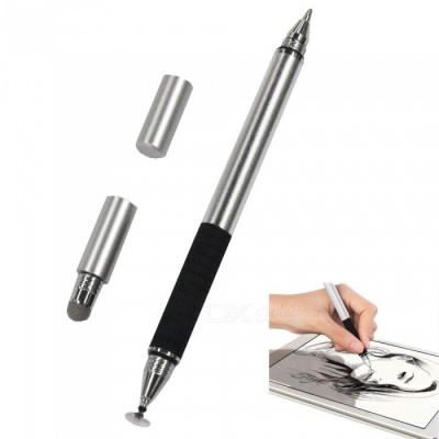 AT-16 3-in-1 Touch Screen Capacitive Pen / Write Pen - Silver