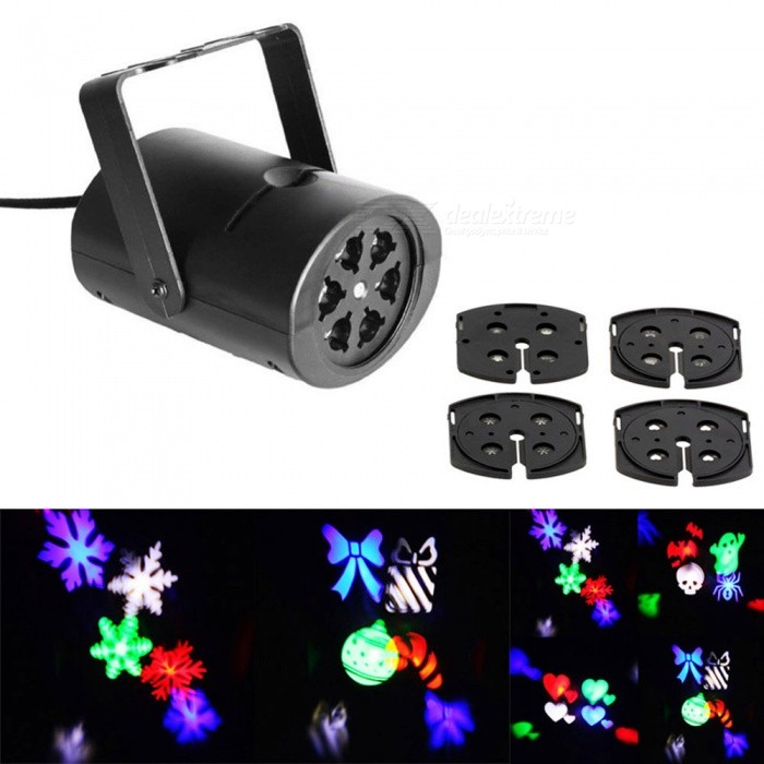Jiawen 3W 4 Patterns RGB LED Stage Effect Light Laser Projecting Lamp