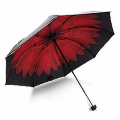 E-SMART Ultraviolet-proof Folding Pocket Sun Umbrella - Black + Red