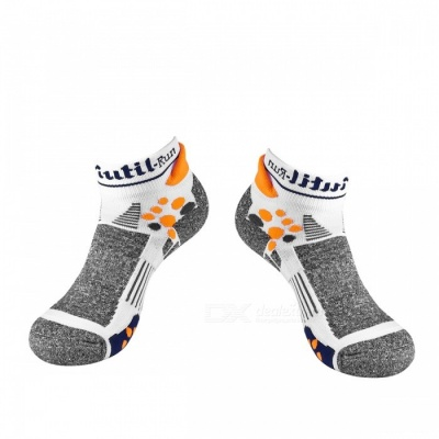 CAXA Unisex Breathable Quick Dry Socks for Sports - Grey + White