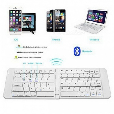 RII K09 Ultra-slim Mini Wireless Foldable Bluetooth Keyboard - White