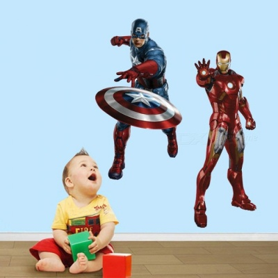 Three-dimensional Removable DIY 3D Iron Man Decorated Wall Stickers